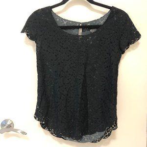 Aritzia Talula Betsey Lace Blouse Black XS